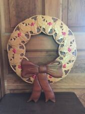 Large Carved Wood Holly Christmas Wreath