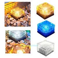 Solar Power Clear Glass Ice Brick LED Light Garden Lawn Pathway Decor Patio Lamp