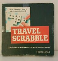 VINTAGE TRAVEL SCRABBLE BOARD GAME BY SPEARS 100% COMPLETE WITH CLEAR RACKS