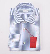 NWT $750 KITON Medium Blue Stripe Cotton Dress Shirt Slim-Fit 17 + Box