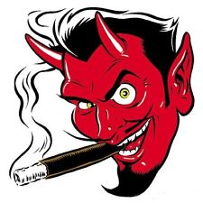 MINI Smokin' Devil Head STICKER Decal Poster Art Coop (Left Facing) CP10BL Roth