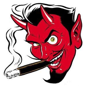 MINI Smokin' Devil Head STICKER Decal Poster Art Coop (Left Facing) CP10BL Roth