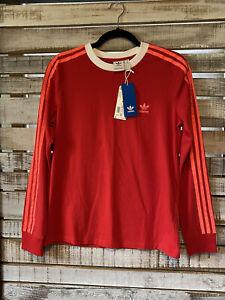 Adidas Scarlett Red White 💔 3 Stripes Long Sleeve Shirt NWT Medium M Ladies
