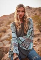 Ces Femme Bohemian Floral Print Long Bell Sleeve Knit Top Size S L