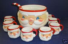 Vintage Holt Howard 1960's Santa Punch Bowl, Ladle & 8 Mugs- Very Good Condition