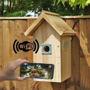 IP Wireless Camera Bird Box | Garden Hanging Birds Nest Wooden Smartphone Tablet