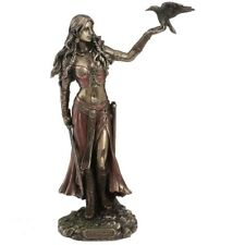 MORRIGAN AND CROW THE WARRIOR GODDESS COLD CAST BRONZE STATUE.