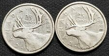 Lot of 2x 1938 Canada Silver 25 Cent Quarters - Good Date