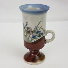 "Otagiri Mug Cup Iris Flowers Vtg Japan Footed Pedestal Hand Crafted 5.5"""