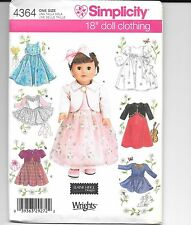 "Simplicity American Girl Doll or 18"" Dolls Clothes pattern 4364"
