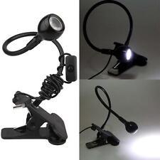 Black USB Flexible Book Reading LED Light Clip-on Beside Bed Desktop Lamp Travel