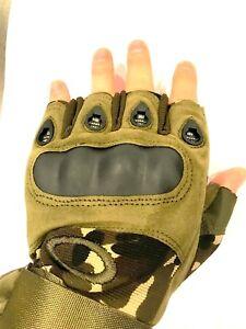 Men's Tactical Military, Paintball Half Finger Gloves Fingerless Motorcycle Hard