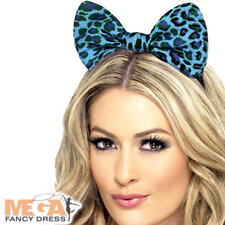 Blue Leopard Print Bow Headband Fancy Dress Animal Ladies Costume Accessory New