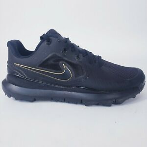 Nike TW 14 Tiger Woods Spikeless Men's Size 9.5 Golf Shoes Black/Gold 652627-002