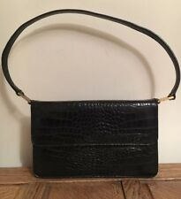 Viyella Bag Black Leather Vintage Handbag Kelly Shoulder Italy Designer VGC Hobo
