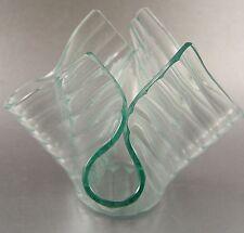 Hankerchief Art Glass Vase Slump Glass Signed on Bottom