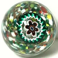 Vintage Color Swirl Flower Bouquet Millefiori Art Glass Paperweight