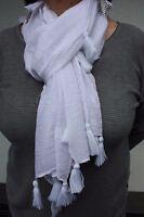 Damen Schal einfarbig uni mit Quasten Geschenkidee Farbe Weiß einfarbig Tuch