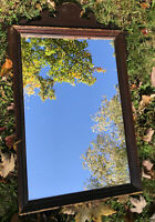 Antique 1800s Wood Wall Mirror Small 19th Century Victorian Mirror Pediment