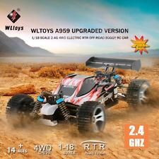 Wltoys A959 Upgraded Version 1/18 2.4G 4WD RTR Off-Road Buggy RC Car Gift E0F4