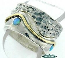 Innovative Great 14k Yellow Gold & Silver Opal Ring