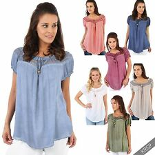 Cotton Short Sleeve Boat Neck Tops & Shirts for Women
