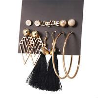 6Pairs/Set Boho Geometry Circle Tassel Earrings Women Stud Ear Earrings Jewelry