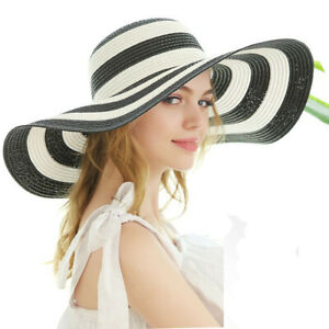 Striped Straw Hat Wide Large Brim Women UV Protection Summer Beach Sun Hat Cap