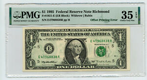 1995 $1 Federal Reserve Note Richmond PMG 35 Choice EPQ Offset Error - BP922