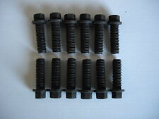 HEADER BOLTS BLACK STEEL 3/8 16 CHEV FORD ETC SET 12 PIECES