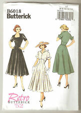 Butterick Sewing Pattern B6018 Reissue of Retro '52 Dresses Sz 6-14