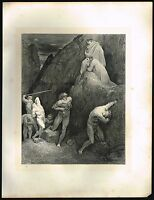 1860s BIG Antique Vintage Male Nude Men Hell Gustave Dore Art Engraving Print