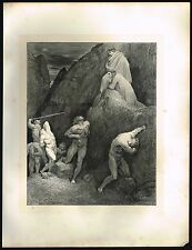 1860's Large ANTIQUE Vintage Nude Men in Hell Gustave Dore Art Engraving PRINT