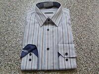 Jeff Banks Designer Shirt Contrast Inner Collar and Cuffs, White + Blue Stripes