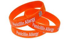 Penicillin Allergy 3 Pack Silicone Wristband Medical Alert ID Bracelet Mediband