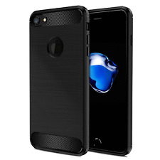 iPhone 7 Case, Black TPU Shockproof Carbon Fiber Textures Cell Phone Case