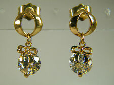 EARRINGS:  EYE-CATCHING ROUND CUT (8MM) WHITE TOPAZ BOWKNOT 18K GOLD FILLED