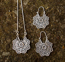 MANDALA FLOWER EARRINGS AND PENDANT NECKLACE, BRASS, SILVER, SACRED GEOMETRY