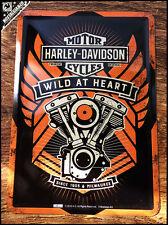 HARLEY DAVIDSON - Wild At Heart - Motorcyles Metal Postcard Mini Tin Sign Card