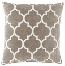 "Grey & White 18"" Luxury Chenille Moroccan Design Geometric Cushion Cover"