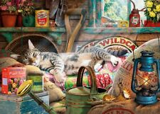 Gibsons - 1000 PIECE JIGSAW PUZZLE - Snoozing In The Shed Tabby Cat