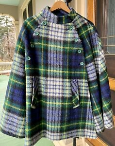Vintage Foxford Fabric Providence, Made In Ireland Wool Plaid Cape With Belt.
