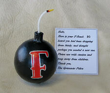 F Bomb Handmade gift 3 inches wide desk office employee boss black red birthday