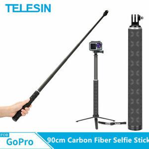 TELESIN 35in Extendable Carbon Fiber Selfie Stick + Tripod For GoPro Osmo Action