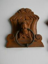2 Small French Antique Corbels Brackets Hand Carved Wood Architectural Lion Head