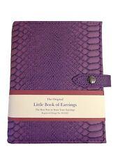 Large Little Book Of Earrings Purple Crocodile Skin 4 Page Jewellery Storage Box