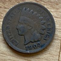 FREE SHIP! VG 1903 Indian Head Cent -118 Year Old Penny - Philadelphia Coin -L2
