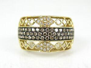 Estate 14k Yellow Gold EFFY Natural .50ctw Diamond Filigree Band Ring 6.2g I213