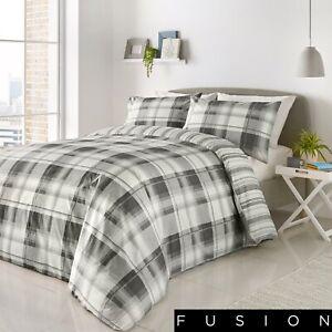 Fusion Grey White Check Duvet Cover and Pillowcases Bedding Set Tartan Quilt