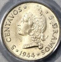 1944 PCGS MS 63 Dominican Republic Silver 5 Centavos Coin (19012901C)